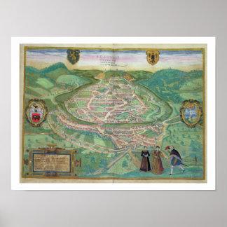Map of Besancon, from 'Civitates Orbis Terrarum' b Poster