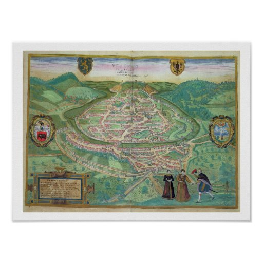 Map of Besancon, from 'Civitates Orbis Terrarum' b Posters