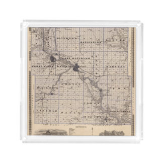 Map of Black Hawk County, State of Iowa Acrylic Tray