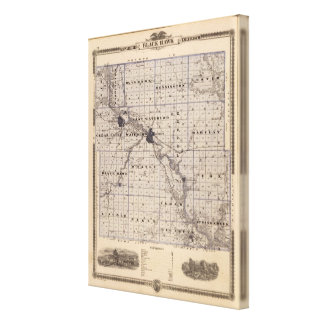 Map of Black Hawk County, State of Iowa Canvas Print