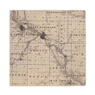 Map of Black Hawk County, State of Iowa Maple Wood Coaster