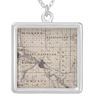 Map of Black Hawk County, State of Iowa Silver Plated Necklace