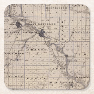 Map of Black Hawk County, State of Iowa Square Paper Coaster