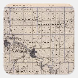 Map of Black Hawk County, State of Iowa Square Sticker