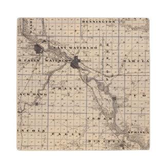 Map of Black Hawk County, State of Iowa Wood Coaster