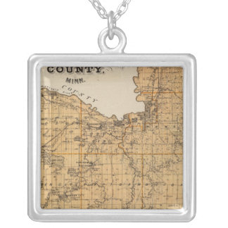 Map of Blue Earth County, Minnesota Silver Plated Necklace