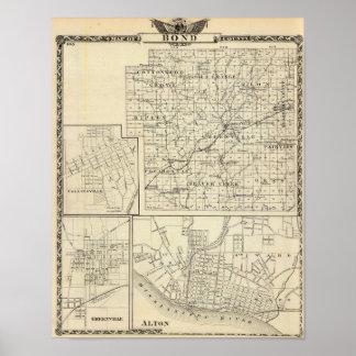 Map of Bond County, Alton Poster