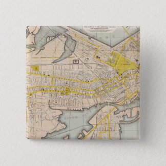 Map Of Boston 15 Cm Square Badge