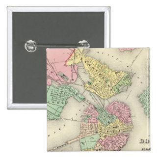 Map Of Boston And Adjacent Cities 15 Cm Square Badge