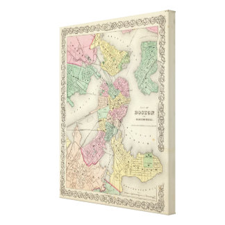 Map Of Boston And Adjacent Cities Canvas Print