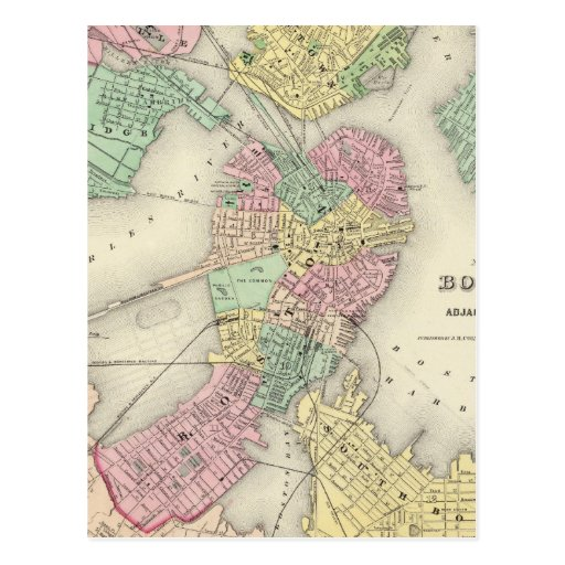 Map Of Boston And Adjacent Cities Post Cards