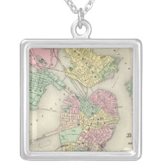 Map Of Boston And Adjacent Cities Silver Plated Necklace