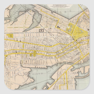 Map Of Boston Square Sticker