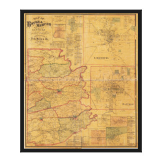 Map of Boyle and Mercer Counties Kentucky (1876) Canvas Print