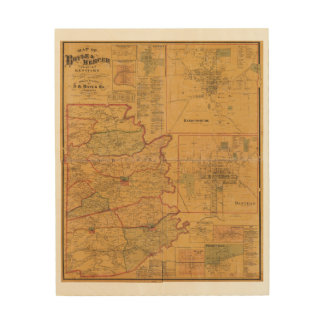 Map of Boyle and Mercer Counties Kentucky (1876) Wood Print