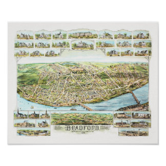 Map of Bradford Massachusetts in 1892 Poster