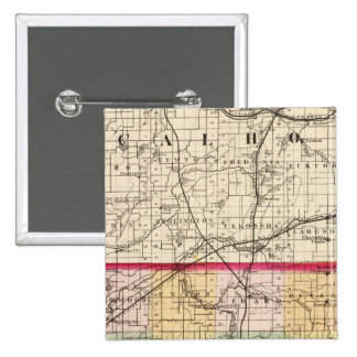 Map of Branch County, Michigan 15 Cm Square Badge