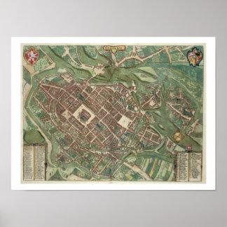 Map of Bratislava, from 'Civitates Orbis Terrarum' Poster