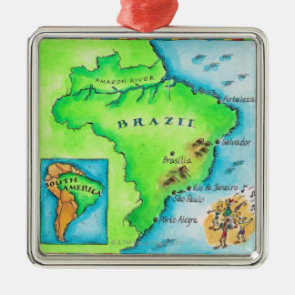 Map of Brazil Christmas Ornament