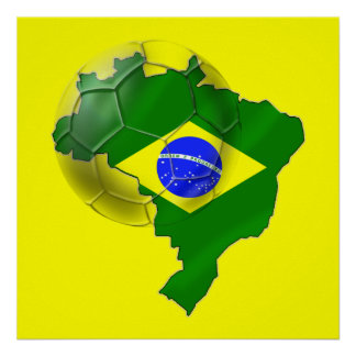 Map of Brazil flag Soccer  ball tees and gifts Poster