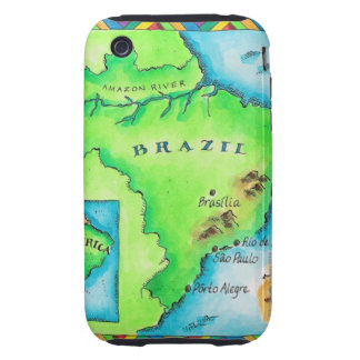Map of Brazil iPhone 3 Tough Covers