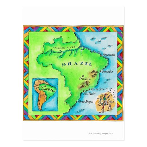 Map of Brazil Post Card