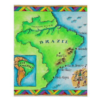 Map of Brazil Poster