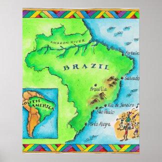 Map of Brazil Poster