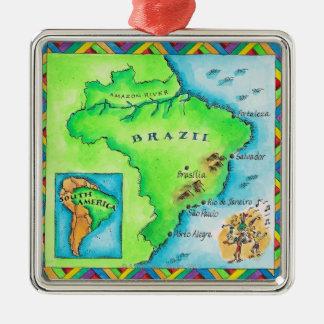 Map of Brazil Silver-Colored Square Decoration