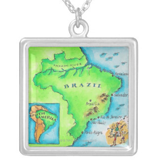 Map of Brazil Silver Plated Necklace