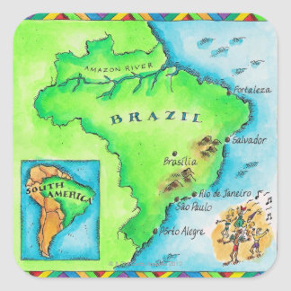 Map of Brazil Square Sticker