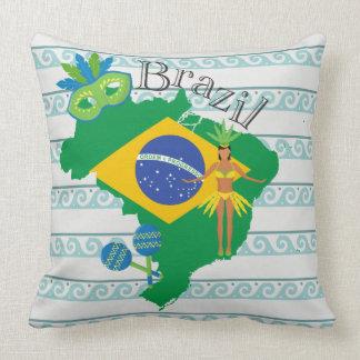 Map of Brazil With Brazillian Flag Cushion