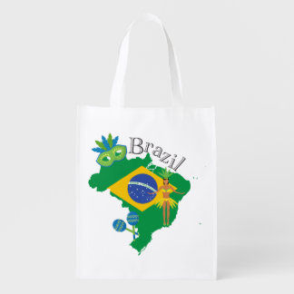 Map of Brazil With Brazillian Flag Reusable Grocery Bag