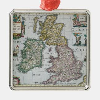 Map of Britain, 1631 Silver-Colored Square Decoration