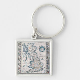 Map of British Isles 2 Silver-Colored Square Key Ring