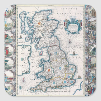 Map of British Isles 2 Square Sticker