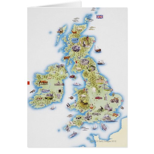 Map of British Isles Greeting Cards