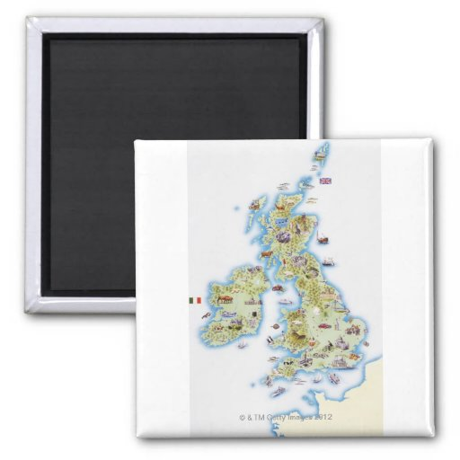 Map of British Isles Refrigerator Magnet