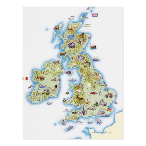 Map of British Isles Post Cards