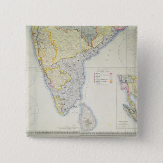 Map of British Southern India, 1872 15 Cm Square Badge