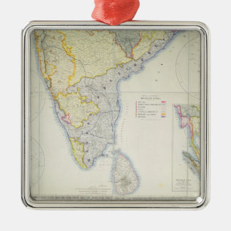 Map of British Southern India, 1872 Silver-Colored Square Decoration