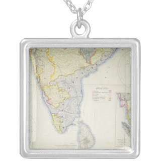 Map of British Southern India, 1872 Silver Plated Necklace