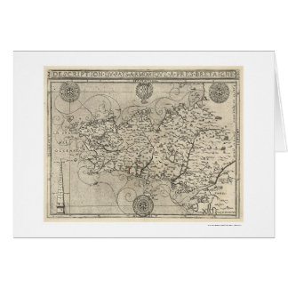 Map of Brittany and France by Tavernier 1594 Card