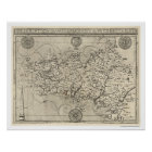 Map of Brittany and France by Tavernier 1594 Poster