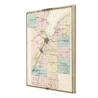 Map of Brown County, State of Wisconsin Canvas Print