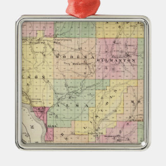 Map of Buffalo County and Village of Alma Christmas Ornament