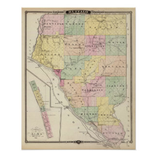 Map of Buffalo County and Village of Alma Poster