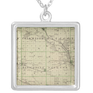 Map of Butler County, State of Iowa Silver Plated Necklace