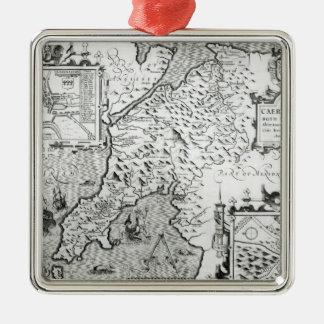 Map of Caernarvon, 1616 Silver-Colored Square Decoration
