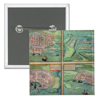 Map of Calais, Malta, Rhodes, and Famagusta, from 15 Cm Square Badge